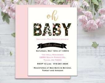 Oh Baby, Floral, Gold, Baby Shower Invitation Printable, Classy