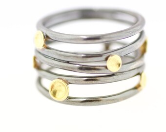 Lichen Tornado Band Sterling Silver 18K Gold Recycled Metal