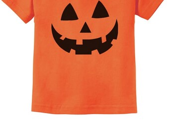Jack O' Lantern Pumpkin Face Halloween Costume Toddler Kids T-Shirt