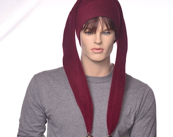 Maroon Jester Hat Two Point Burgundy Harlequin Style with Bells