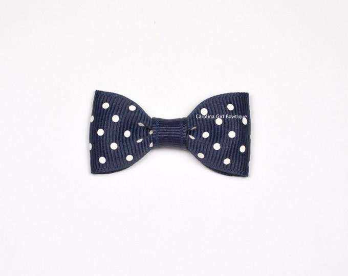 Navy Dots Baby Hair Bow ~ 2 in. Bow with No Slip Grip ~ Small Hair Bows Newborns Toddler Girls
