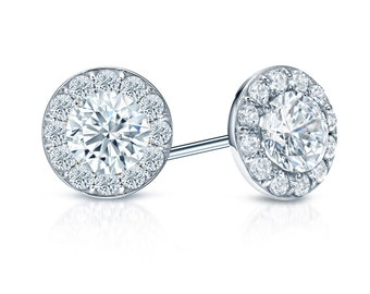 14k Gold Halo Round Diamond Stud Earrings 1.00 ct. tw. (H-I, I1)