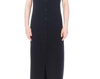 1990s Wool Sleeveless Button Front Maxi Dress With Peaked Lapels Size: S/M