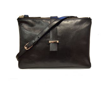 Black Leather zip Pouch,black leather purse,leather bag,cross body bag,leather Hand Bag, Clutch, Pouch, LOU BAG BLACK