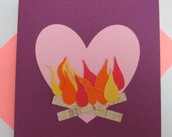 Valentine Fire Card - Message Inside (Valentine's Day card)