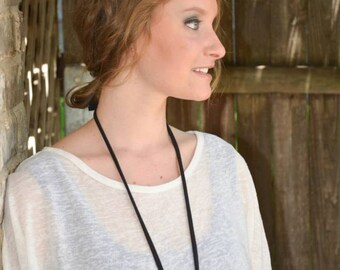 black / brass / black cotton jersey necklace
