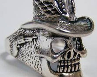 Skull With Cowboy Hat Ring