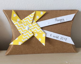 Box dragees windmill yellow kraft