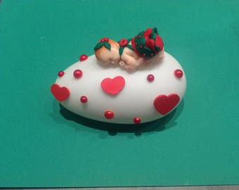 Nightlight with polymer clay baby