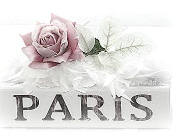 Paris Photography, Romantic Paris Roses Books Print, Paris Shabby Chic Decor, Paris Books Photography, Paris Roses Books, Shabby Chic Decor