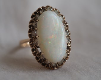 Phenomenal vintage 12K yellow gold Opal and Diamond paste (glass!) cocktail ring