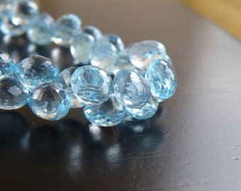 Sky Blue Topaz Gemstone Briolette Faceted Onion Drop 8mm 10 beads