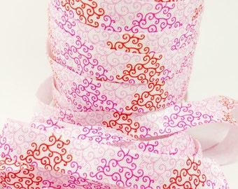5/8 Pink red swirls fold over elastic, Valentines FOE, Headband elastic for making diy hair ties, Foldover elastic by the yard