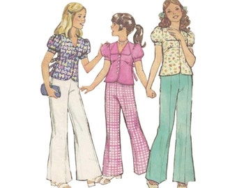 Pre Teen Bell Bottom Pants and Top Vintage 1970s Simplicity 6308 Puffed Sleeves Childrens Size 10 Cute Kawaii Kids Sewing Pattern