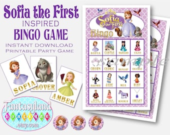 Sofia the First Inspired Bingo Game, Digital Printable Party Supplies, Birthday Party Game, Instant Download, Disney Princess Party