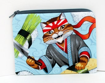 Sushi Cats, Small Zipper Pouch, Sushi Chef Kitty Coin Purse