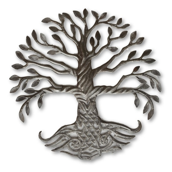 Tree of Life with Intricate Roots, Quality Handcrafted Haitian Metal, One-of-a-Kind 23x23