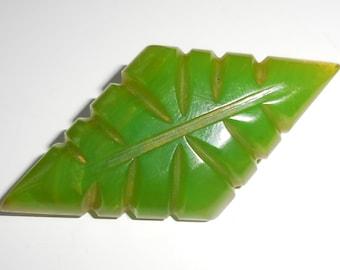 Stunning GREEN BAKELITE Art Deco BROOCH, Vintage Carved Geometric Swirled Bakelite, 1930s Early Plastic Jewellery, Great Gift!