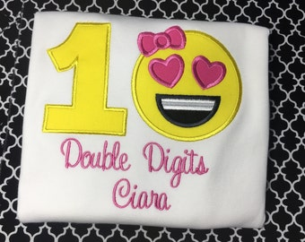 Birthday Shirt or Bodysuit Long or Short Sleeve Double Digits and Emoji