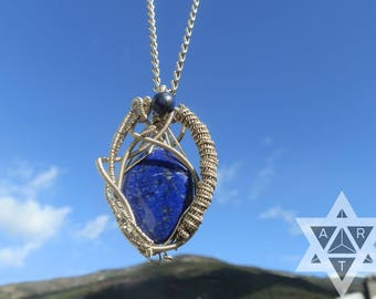 Lapislazuli necklace, Pendant, German silver, Handmade, Natural Crystal, Stone, Chakra 6, third eye,powerfull