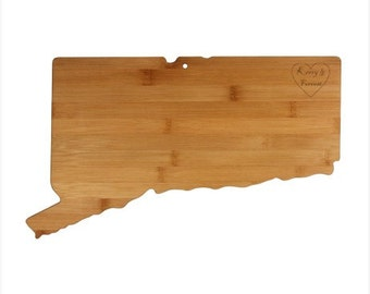Engraved Connecticut Cutting Board - Connecticut Shaped Bamboo Cutting Board Custom Engraved - Wedding Gift, Couples Gift, Housewarming Gift