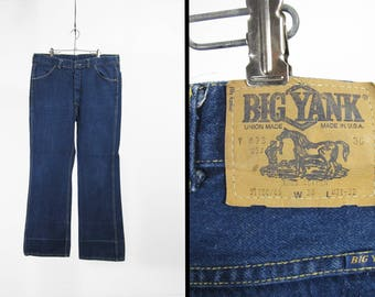 Vintage 70s Big Yank Jeans Union Made in USA Blue Faded Denim Workwear - 38 x 32