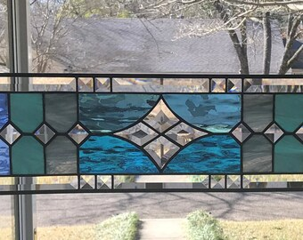 "Transom Stained Glass Window Panel w/Bevels - Blue Tones, apprx size 24"" x 7"""