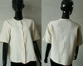 Vintage gauzy fabric beige women's button up short sleeve simple basic blouse Lightweight summer top Vintage gauze blouse Bohemian Hippie