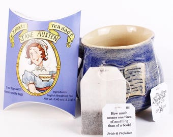 Jane Austen Literary Tea Bags - Single Pouch of 5 Individually Tagged Teabags Featuring Quotes from Austen's Classic Novels. Literary Gifts