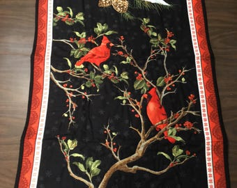 Hand Quilted Christmas Cardinal Wall Hanging/ Table Runner
