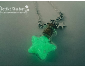 SHOOTING STAR - glow in the dark star bottle necklace