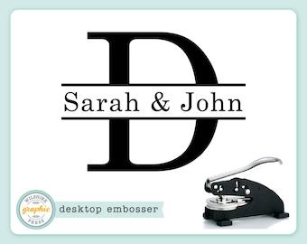 Embosser - JOHN Style - Personalized Name Monogram Initial Embosser - Embossing Stamp Seal - Bridal Wedding Housewarming Gift