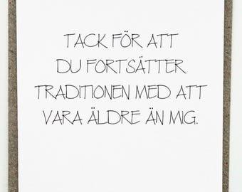 Swedish card etsy funny swedish birthday card roliga vykort kort till fdelsedag bookmarktalkfo Choice Image