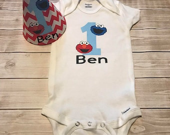 Sesame Street First Birthday Onesie and Personalized Party Hat