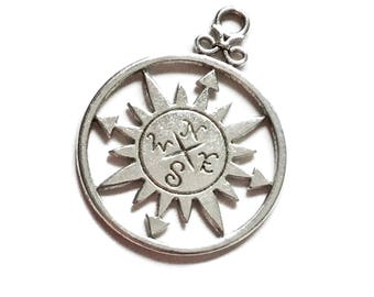 10 Antiqued Silver Compass Charms 36 x 27mm