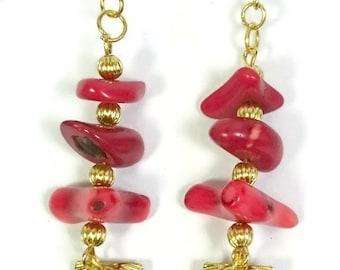 Red Coral Earrings Seashell Earrings Dangle and Drop Earrings Clam shell earrings ocean jewelry