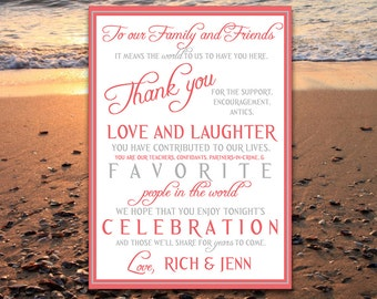 Wedding Thank You Card, Program Card, Invitation Insert DIY Printable - Coral Gray - Engagement Party, Wedding Party, Bridal Shower