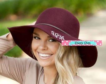 Burgundy Wool Floppy Hat with Monogram | Monogram Floppy Hat | Winter Hat | Monogram Wool Floppy Hat | Fashionable Wool Hat |
