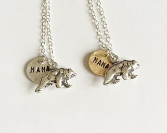 Mama Bear Necklace - Mothers Day Necklace - Everyday Necklace - 14k Gold Filled and Sterling Silver - Hand Stamped Jewelry - Gold Disc
