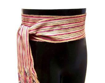 Copper Gold Sash, SA23 - Pirate Belt - Guatemalan Textiles - Ikat Fabric - Bohemian Belt - Reenactment Clothing - Earth-Tone Sash