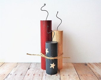 Wood Firecrackers Americana Home Decor Rustic Fourth of July Patriotic