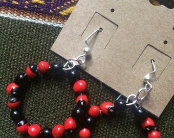 Huayruro Seed Black and Red Bold Earrings