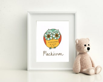 """Owl, Personalized Owl Print ~ 8""""x10"""" Digital Print ~ Personalize with any name."""
