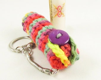 Crochet Keychain Lip Balm Holder - Pink, Purple, Green and Red Variegated