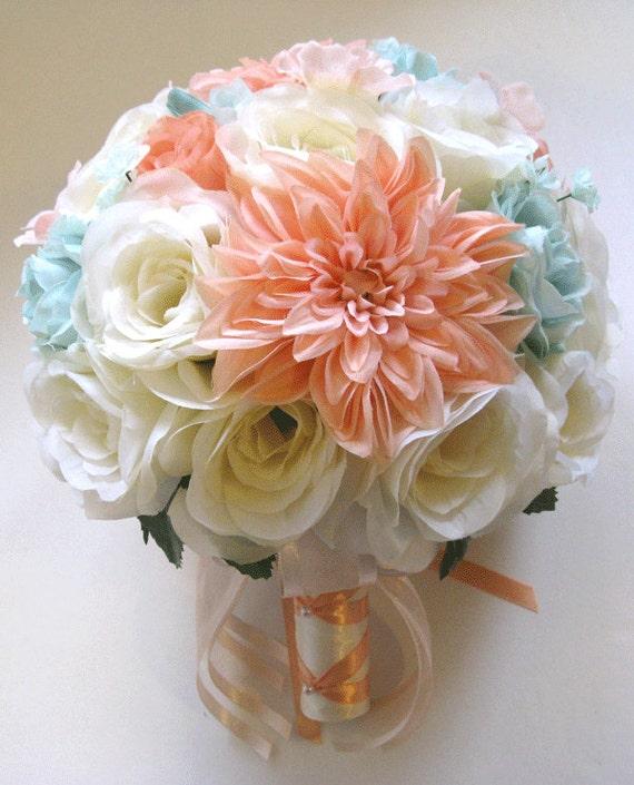 Wedding bouquets silk flowers cream peach light mint blush 17 mightylinksfo Images