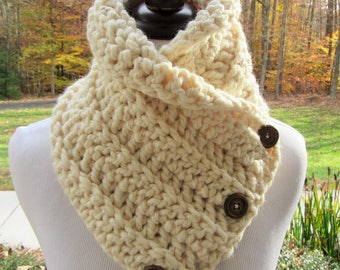 Ivory Button Cowl, Crochet Scarf, Button Scarf, Boston Harbor Scarf, Gift For Her, Gold Bling Scarf, Christmas Gift, Winter Accessory