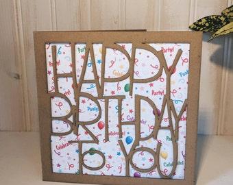 Joyeux anniversaire à vous carte de voeux, découpé au laser, rustique