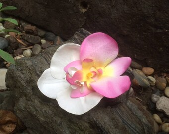 Orchids PInk and White tropical flower hair clip