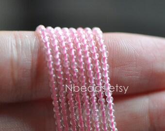 Pink Rose Quartz 2mm Smooth Round beads -V6054-1 / Full strand