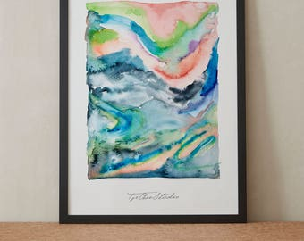 Abstract Contemporary Sky Hills Rainbow Watercolor Painting, Printable Art, Original art, Floral Wall Art, Instant Download